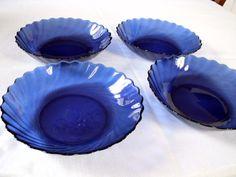 Cobalt Blue Glass Bowls Arcoroc France by TheMintGreenTagSale, $25.00