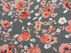 Grey, coral, white floral... nursery scheme?
