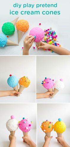 Your little ones may love helping you create these soft and safe DIY toddler toys: play pretend ice cream cones. Plus, they can have hours of kid-friendly summertime fun with them later!