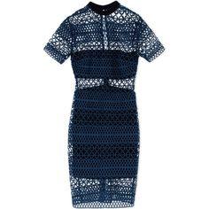 Self-Portrait Short Dress (8 725 UAH) ❤ liked on Polyvore featuring dresses, deep jade, print dress, blue pattern dress, lace dress, lace print dress and print mini dress