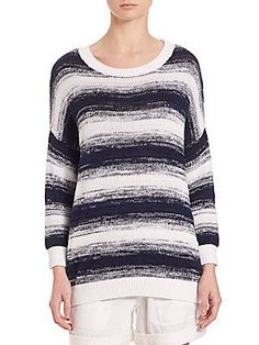 Vince Ombre-Striped Pullover - Blue Marine - Size