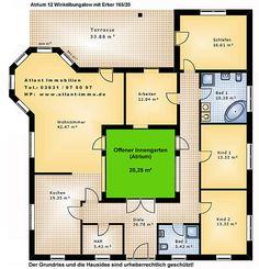 Atrium 12 Winkelbungalow mit Erker 165 20 Einfamilienhaus Neubau Massivbau Stein auf Stein