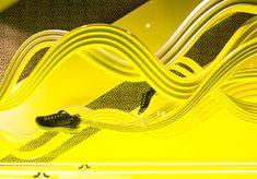 Nike x Liberty windows by Hotel Creative, London visual merchandising Check… Visual Merchandising Displays, Visual Display, Display Design, Booth Design, Window Display Retail, Retail Windows, Nike Outfits, Retail Architecture, Exhibition Display