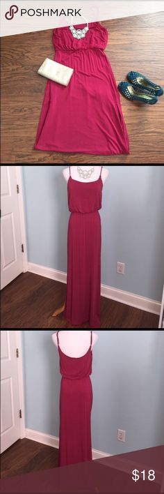 Raspberry maxi dress Size medium. Super soft rayon/spandex blend. Top is lined. Adjustable straps. Slit on side. L.A. Hearts Dresses Maxi