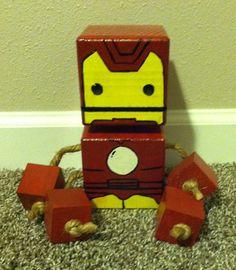 Wood Block Iron Man