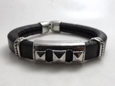 Chunky Black Leather Bracelet for Men & Women  by DaisyBellBeads, $20.00