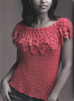 Lipstick Coral: beautiful crochet top - with full pattern and diagrams