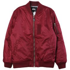 Stussy MA-1 Burgundy Bomber (640 RON) ❤ liked on Polyvore featuring outerwear, jackets, clothing - outerwear, sweaters, stussy, burgundy bomber jacket, red bomber jacket, burgundy jacket and bomber style jacket