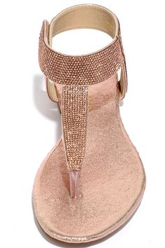 73a2b072b Add some shimmer to your stroll with the Stunner Step Champagne Rhinestone  Thong Sandals! Sparkling