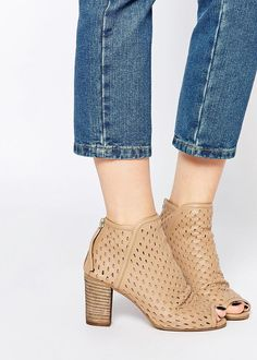 perforated leather peep-toe boots