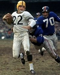 Bobby Layne Chicago Bears 1948, New York Bulldogs 1949, Detroit Lions 1950-58 and Pittsburgh Steelers 1958-62. HOF Class '67.
