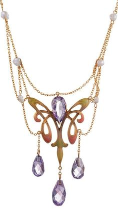 An Art Nouveau 14k gold, amethyst, enamel and pearl necklace, circa 1895. #ArtNouveau #necklace
