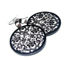 Decoupage earrings boho hippie style wooden wheels by SzaraLotka, $12.00
