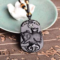Black Obsidian Necklace ~ Chinese Zodiac Pig ~ Men Jewelry | $18.88   #purplerelic #WomenAccessories #WomenJewelry #ObsidianPendant #MenJewelry #MenAccessories #ZodiacNecklace #accessories