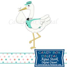 Aqua Blue Bundle Of Joy Stork Clip Art for boy baby showers by CandyBoxDigital. Great for digital scrapbooks and journals, blogs and websites, graphic designs, invitations, and all kinds of paper craft applications. At our Etsy shop.
