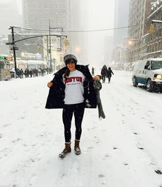 Repping @bostonu in the midst of Snowstorm Jonas in New York City!  Walking down the street because there are no cars allowed and being on an adventure is simply fun.  #BostonU #NYC #snowzilla #snowstormjonas #blizzard #snow #winter by sophiawerner
