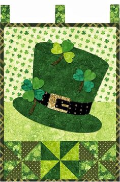 SAINT PATRICK'S DAY QUILT.....PC Small Quilts, Mini Quilts, Mug Rug Patterns, Quilt Patterns, Quilting Projects, Sewing Projects, Little Blessings, Shabby Fabrics, St Patrick's Day Crafts