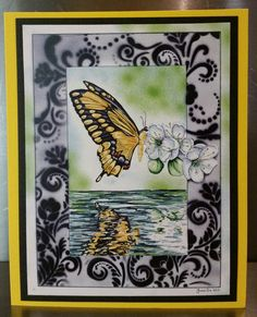 Butterfly with airbrush background Marker Kunst, Copic Marker Art, Copic Markers, Scrapbook Cards, Scrapbooking, Art Blog, Butterfly, Airbrush, Painting