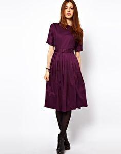 Vergrößern ASOS – Knielanges Kleid mit ausgestelltem Rockteil