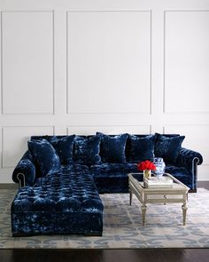 Haute House Divine Crushed Velvet Right Chaise Sectional 114 Luxury Furniture, Living Room Sofa, Haute House, Sectional Sofa, Sectional, Dining Room Table Makeover, Velvet Sectional, Blue Home Decor, Dinning Room Decor
