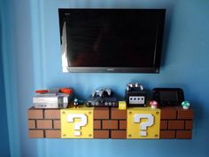 Bedroom Decor Super Mario Themed bedroom created by Build A Room an Orlando, FL based company. Gamer Bedroom, Kids Bedroom, Goth Bedroom, Baby Bedroom, Super Mario Room, Nintendo Room, Nintendo Decor, Black Bookshelf, Bookshelf Storage