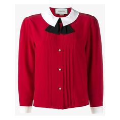 Gucci peter pan collar blouse ($950) ❤ liked on Polyvore featuring tops, blouses, red, long sleeve silk blouse, red bow blouse, red top, pleated sleeve blouse and red long sleeve blouse