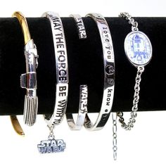 Star Wars bracelets (left to right) - Han Cholo, Disney Parks, Love And Madness, Body Vibe, Her Universe ⭐️ Star Wars fashion ⭐️ Geek Fashion ⭐️ Star Wars Style ⭐️ Geek Chic ⭐️