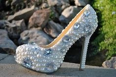 Jeweled Bridal Shoes Silver Crystal Sparkle Wedding by bridalized - StyleSays