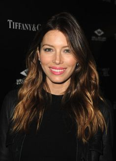 Jessica Biel at Tiffany&Co red carpet event showing perfect beach waves hair