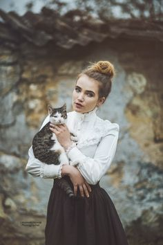 Elzabeth, Victorian woman with cat... - photo: Marketa Novak  model: Elizabeth Janů  All series, was formed by poet by old man (90 years), which alone live in old mill from 12 centure. You can see in the background =)