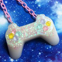 PlayStation Controller Necklace Gamer Nerd Pastel by VixieAndMynx