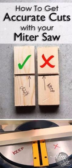 Cool Woodworking Tips - Accurate Cuts With A Miter Saw - Easy Woodworking Ideas, Woodworking Tips and Tricks, Woodworking Tips For Beginners, Basic Guide For Woodworking http://diyjoy.com/diy-woodworking-tips