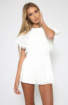 Talulah - Avenue Flare Sleeve Playsuit - White from Peppermayo.com