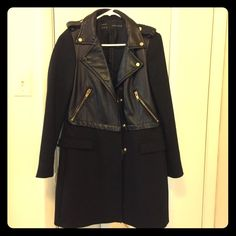 Like new! Zara Moto Peacoat with adorable leather and zipper detail. Size medium. Make an offer!