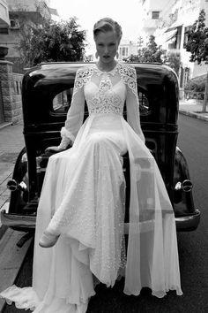 Old Hollywood inspired wedding dress