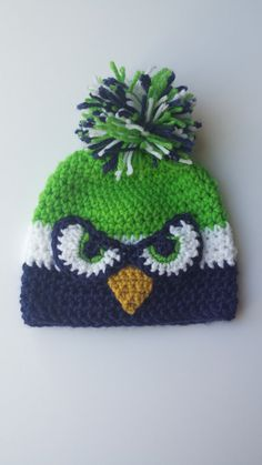 Crochet Baby Seahawks beanie seahawks hat by herflyingelephant