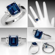 Emerald Cut Blue Sapphire & Diamond Three Stone Engagement Ring Platinum - EraGem