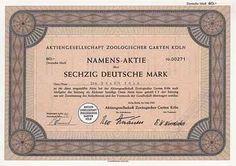 AG Zoologischer Garten in Köln Namens-Aktie 60 DM Mai 1960 (Auflage 1500, R 8).