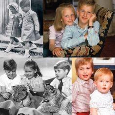 Top-Princess Anne and Prince Charles; Zara and Peter Phillips; Bottom-James Ogilvy, Lady Sarah Armstrong-Jones, Prince Edward; Prince William and Prince Harry