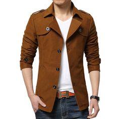 2015 Nuevo Abrigo de Invierno Chaqueta de Diseño de Moda Para Hombre Slim Fit Short Trench Coat Marca Casual Solo Pecho Cazadora 4Xl