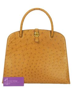"""Model : Dalvy《 Material : Ostrish Leather- Color : Brown- Hardware : Gold- Condition :good-  Size : L12"""" x H9.5"""" x W4.5""""-"""