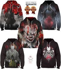 New Movie It Pennywise Clown Stephen King 1990 2017 Horror Movie Hoodie Sweatshirt Cosplay Sportswear Tracksuit Ideal Gift For All Occasions Men's Clothing