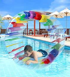 Super Fun Safe Hamster-like wheel for kids that floats on water; Easy to inflate and deflate. Sturdy I-Beam Construction with Rainbow Strings. Repair patch for extended life included in case somethin...