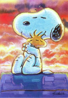 Snoopy  and Woodstock - by Charles M. Schultz