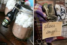 Just because you are having a winter wedding doesn't mean your guests will be cold! Warm them up with hot drinks and blankets! #christmas #wedding #winter #ideas #blankets #hot #drink #chocolate #baileys #favours