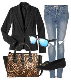 the bag! @Who What Wear - Get Jessica Alba's look for 90% off.  Mossimo Doubleweave Boyfriend Blazer ($18) in Black; Topshop Moto Rita Rip Skinny Jeans ($84); Mango Handbag ($90); Union Bay Idol Cat Slip-On Loafers ($16); ASOS Retro Sunglasses With Blue Mirrored Lens ($19).