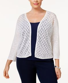 Charter Club Plus Size Pointelle Cardigan, Only at Macy's