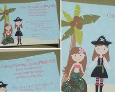 girls party invites: mermaids & pirate princesses