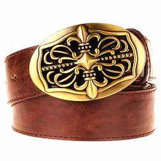 Fashion belt metal buckle golden hollow cross men leather belt Heart pattern punk rock belts women jeans hip hop girdle