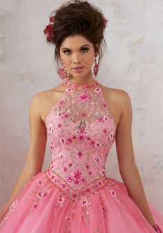 Embroidery and Beading on a Tulle Ballgown | Vizcaya Style 89134 | Floral Embroidey Takes Center Stage on This Tulle Quinceañera Dress with Corset Back. Delicate Beading Accents the High Halter Neckline. Matching Bolero Stole
